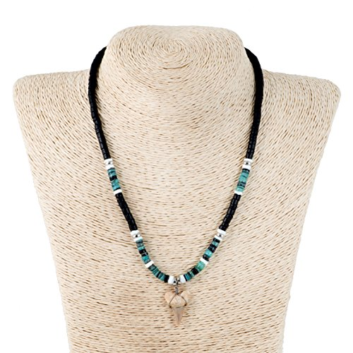 Shark Tooth Pendant on Black Coconut Wood Beads Necklace with Green Heishi and Puka Shells (2S Shark Tooth)