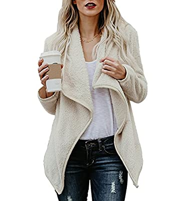 Womens Open Front Winter Coats Cardigan Sherpa Jacket Reversible Fluffy Outwear