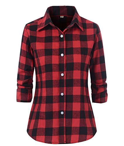 Beninos Women's Check Flannel Plaid Shirt (US Size S/Tag Asia XL, Red Black)