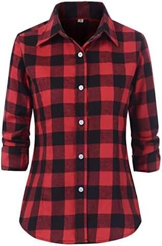Benibos Women's Check Flannel Plaid Shirt