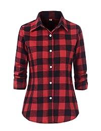 Women's Check Flannel Plaid Long Sleeve Shirt