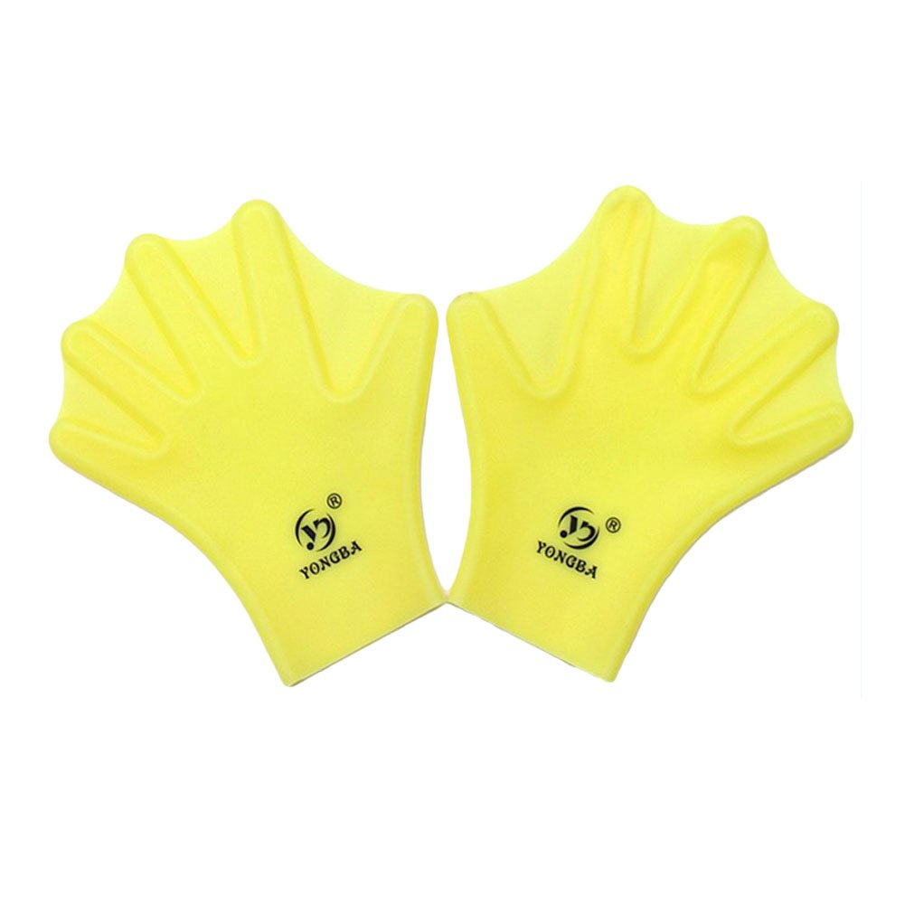 Water Gear Silicone Swim Webbed Gloves for Adults, 2pcs (Yellow)