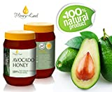 Honey Land 100% All Natural Avocado Honey Organic From the Nectar of The Israeli Avocado flower Blossom – Rich Molasses Taste Treat and Soften Skin Naturally Without Chemicals! 500gr | 17.6oz Kosher
