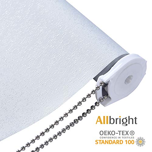ALLBRIGHT Drizzle 100% Blackout Blinds Thermal Insulated UV Protection Energy-Saving Waterproof Vinyl Roller Shades for Bedroom, IvoryWhite, 37″ W x 72″ H