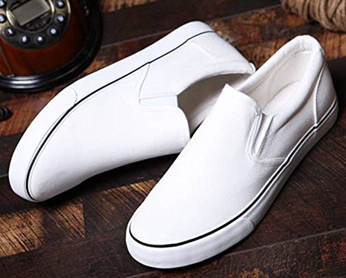 IDIFU Womens Mens Casual Low Top Slip On Loafers Flat Canvas Shoes Sneakers White u7drmMGAlo