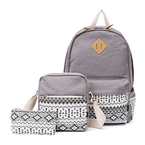 OURBAG Canvas Casual Lightweight Backpack Schoolbag Shoulder Bags Wallet for Women Girls 3PCS Set Grey -