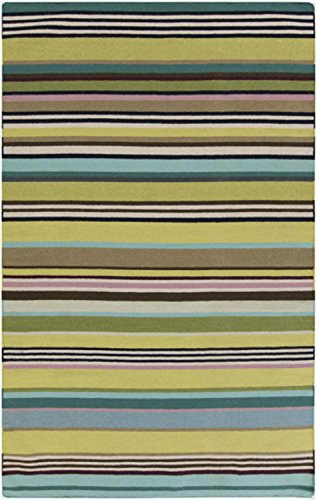2' x 3' Rayas Del Mar Teal Blue and Sandy Brown Hand Woven Wool Area Throw Rug