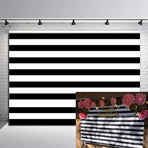 RUINI Black and White Stripes Backdrop Birthday Wedding Party Decor Backdrop 7x5FT]()