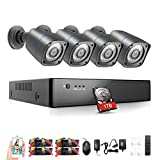 Rraycom 8CH Security Camera System HD-TVI 1080P DVR Recorder with 4X HD 2000TVL 720P Indoor/Outdoor Weatherproof Cameras 1TB Hard Drive,115ft Night Vision,Motion Alert,Smartphone and PC Remote Access