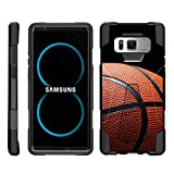 TurtleArmor | Compatible for Samsung Galaxy Note 8 Case | N950 [Dynamic Shell] Dual Hybrid Hard Impact Silicone Cover Kickstand Sports and Games Design - Basketball Seams