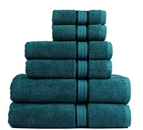 Cotton Craft Ultra Soft 6 Piece Towel Set Teal, Luxurious 100% Ringspun Cotton, Heavy Weight & Absorbent, Rayon Trim - 2 Oversized Large Bath Towels 30x54, 2 Hand Towels 16x28, 2 Wash Cloths 12x12 ()