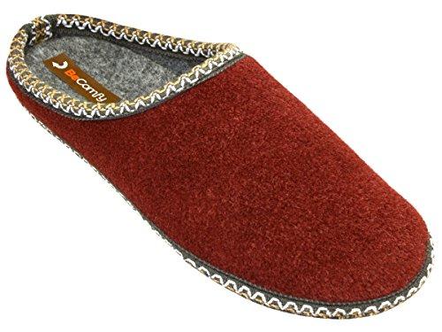 BeComfy - Zapatillas de estar por casa de Fieltro para hombre Rot+Box