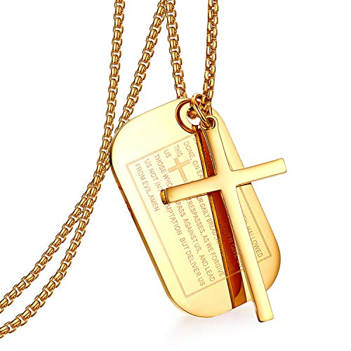 Cupimatch Gold Men's English Bible Dog Tags Cross Prayer Pendant Necklaces, Stainless Steel Jesus Verse Lords Catholic Necklace Chain 24