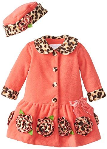 Leopard Trim Hat (Bonnie Jean Little Girls 2T-6X Coral Fleece with Leopard Trim Coat and Hat Set BACO2,)