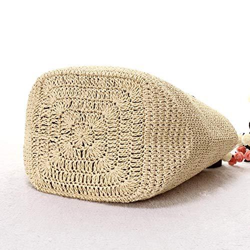 para tejido Bolso a genuino tejido de Bolso tejido a cuero Beige mano mujeres en bolso de paja mano en Alian qg4w8xR55
