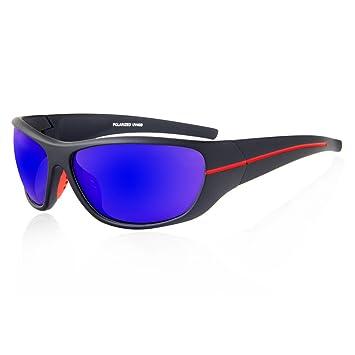 Quesahrk Polarisiert Sportbrillen Sonnenbrille For Herren Matte Schwarze Männer Frauen Fahrrad Fahren Golf Brille Läuft QE24 (Schwarz, Blau)