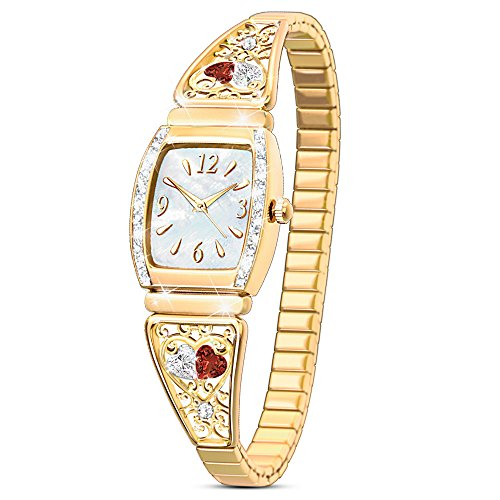 Two Hearts, One Love Women's Stainless Steel Stretch Watch by The Bradford (State Ladies Heart Watch)