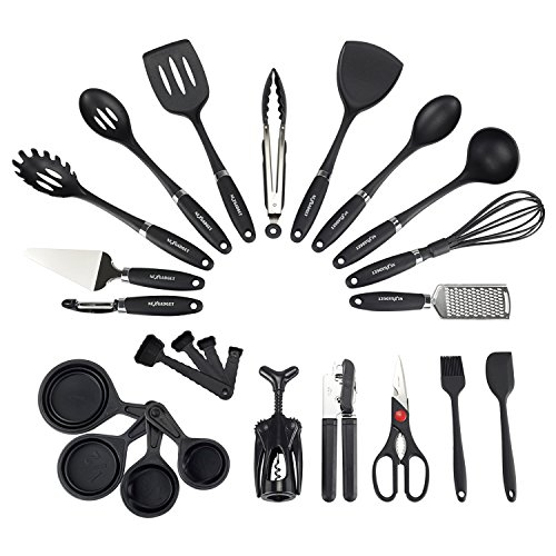 NEXGADGET Kitchen Utensils Set 24-Piece Nylon Cooking and Baking Utensils with Rubberized Handles for Nonstick Cookware