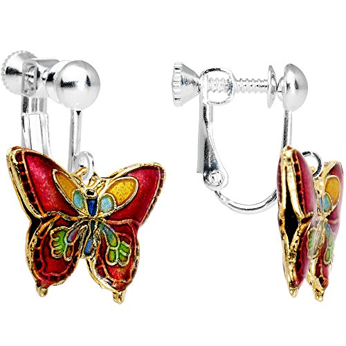 Body Candy Handcrafted Red Butterfly Clip On Dangle Earrings
