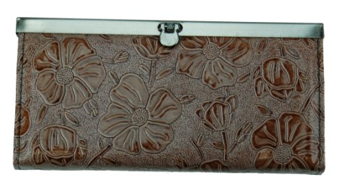 Flower Embossed Clutch Wallet for Women with Credit Card Slots - Clutch Accordian