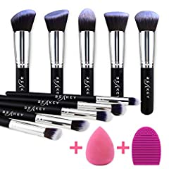 Product Features: Set contains: 10Pcs Makeup Brushes + 1pc Makeup Sponge + 1pc Brush Cleaner. All of the makeup brush handles are made of high-quality wood while the bristles are made of synthetic hair that really has a soft feel against the ...