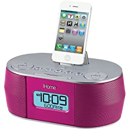 iHOME iD38PVC App-Enhanced Stereo System with Dual Alarm and FM Clock Radio for iPad/iPhone/iPod - Retail Packaging - Pink
