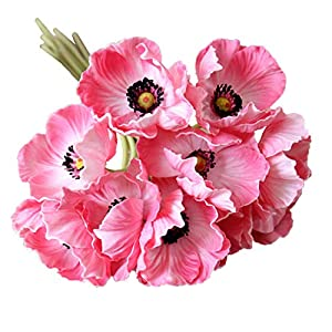 Calcifer 10 pcs Real Touch PU Mini Artificial Poppies Flowers Bridal Holding Flowers Bouquet Home Garden Wedding Party Decoration 44