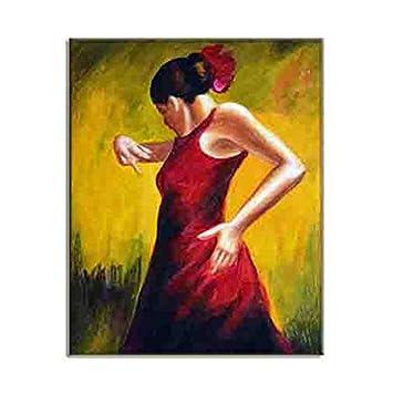 Amazon.com: Spanish Style Flamenco Dancer Oil Painting HD Wall Art ...