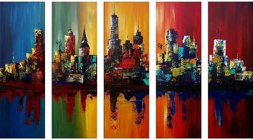 Santin Art-Summer In The City-Modern Canvas Art Wall Decor-Cityscape Oil Painting Wall Art