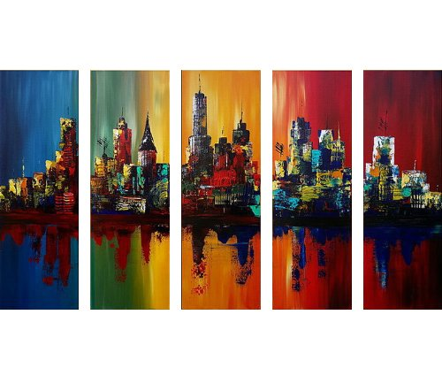 Santin Art-Summer In The City-Modern Canvas Art Wall Decor-C