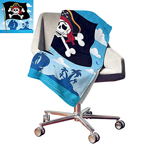 Custom homelife Pirate Print Summer Quilt Comforter Danger Sign Beware of Pirates Skull with Hat Cross Bones Flag Deserted Island Digital Printing Blanket Blue Black White Bed or Couch 50