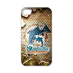 iPhone 4,4S Unique Miami Dolphins Pattern Case for iPhone 4,4S 100% TPU (Laser Technology)