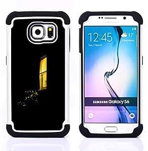 - night window yellow black home - - Doble capa caja de la armadura Defender FOR Samsung Galaxy S6 G9200 RetroCandy