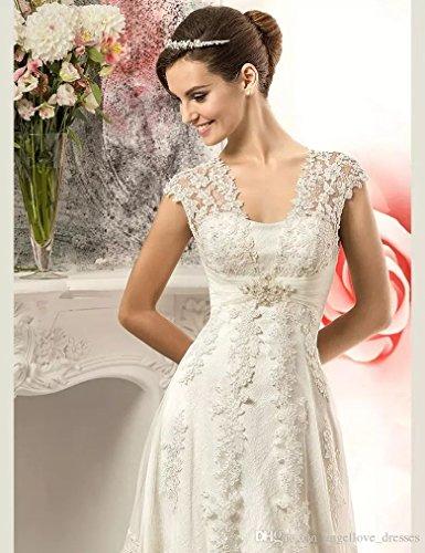 YoYodress El cordón del vintage Appliques los vestidos de boda del país Corset detrás los vestidos nupciales de la novia de Tulle (48, Marfil): Amazon.es: ...