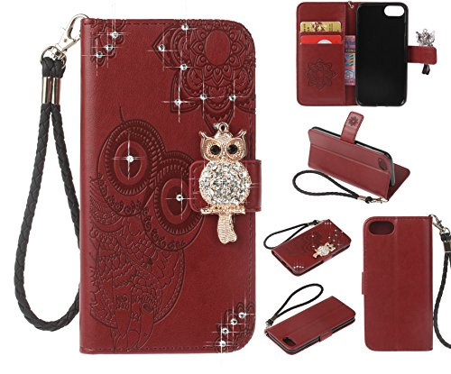 Amocase Wallet Case with 2 in 1 Stylus for iPhone 8,3D Bling Gems Owl Magnetic Mandala Embossing Premium Strap PU Leather Card Slot Stand Case for iPhone 7/iPhone 8 4.7 inch - Red Brown