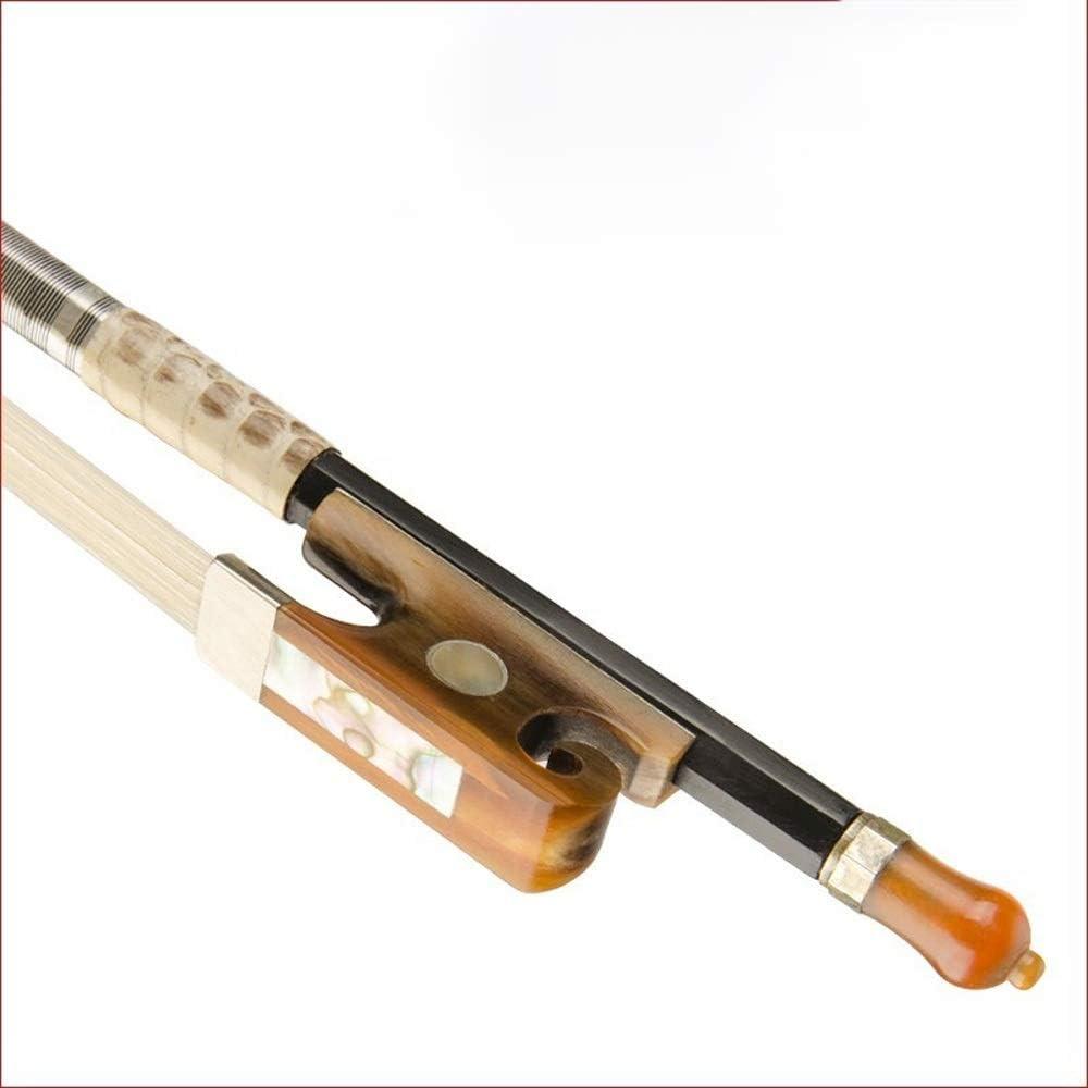 バイオリンの弓 女性と男性のためのフランスのスタイルカーボンファイバーバイオリンの弓4/4モンゴルホワイトスギナ防水オックスホーンカエルヘビ皮のハンドル バランスのとれた (Color : Yellow, Size : 4/4)