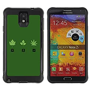 Hybrid Anti-Shock Defend Case for Samsung Galaxy Note 3 / Marijuana Leaf