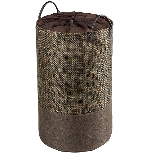Nova Bath Collection Scoop Round Hamper Laundry Organizer Basket with Carry Handles, PVC, Polyester (Brown)