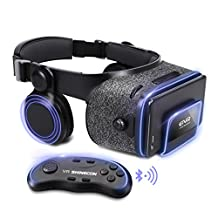"""ETVR Upgraded Virtual Reality Headset VR Glasses with Remote Controller for 3D Movies and VR Games - More Lighter VR Headset with Built-in Stereo Headphone Fit for 4.7""""-6.2"""" iPhone Android Smartphones"""
