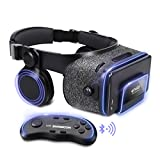 ETVR Upgraded Virtual Reality Headset VR Glasses with Remote Controller for 3D Movies and VR Games - More Lighter VR Headset with Built-in Stereo Headphone Fit for 4.7''-6.2'' iPhone Android Smartphones
