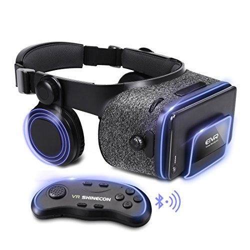 ETVR Upgraded Virtual Reality Headset VR Glasses with Remote Controller for 3D Movies and VR Games - More Lighter VR Headset with Built-in Stereo Headphone Fit for 4.7''-6.2'' iPhone Android Smartphones by ETVR
