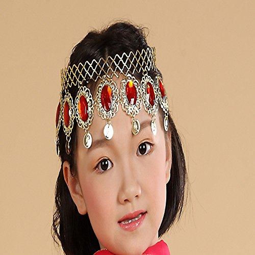 Lecent@ Children Belly Dance Red Gemstore Headband Headwear Jewelry Party Accessories Halloween Stage Performance Costume