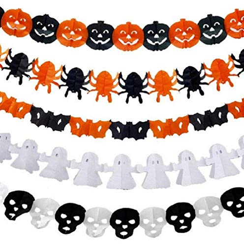 FUNSECO Halloween Decor Banner, 5 Pcs Different Pattern Pumpkin Spiders Bat Ghost Skull Halloween Pull Flowers Banner Scary Bunting Party Supplies