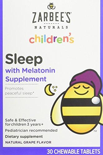 Zarbee's Naturals Children's Sleep Melatonin Supplement Chewable Tablets Grape Flavor - 30 ct, Pack of 2 (Best Melatonin Supplement Brand)