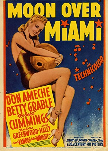 MOON OVER MIAMI (1941) Mini/midget window card iconic Betty Grable pin-up art NF