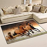LORVIES Running Horses Area Rug Carpet Non-Slip Floor Mat Doormats for Living Room Bedroom 60 x 39 inches