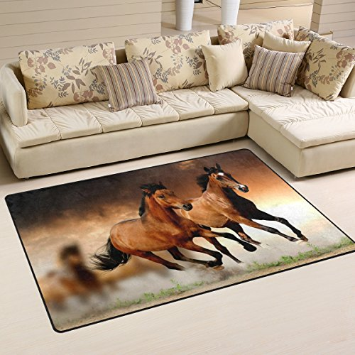 Horse Carpet - LORVIES Running Horses Area Rug Carpet Non-Slip Floor Mat Doormats for Living Room Bedroom 60 x 39 inches