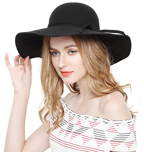 Lovful Women 100% Wool Wide Brim Cloche Fedora Floppy hat (Ladies Black Hat)