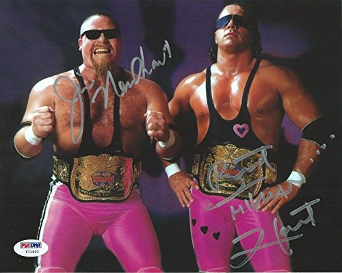 Bret Hart Jim Neidhart Signed WWE 8x10 Photo COA Foundation Picture Auto - PSA/DNA Certified - Autographed Wrestling (8x10 Photo Autographed Coa Auto)
