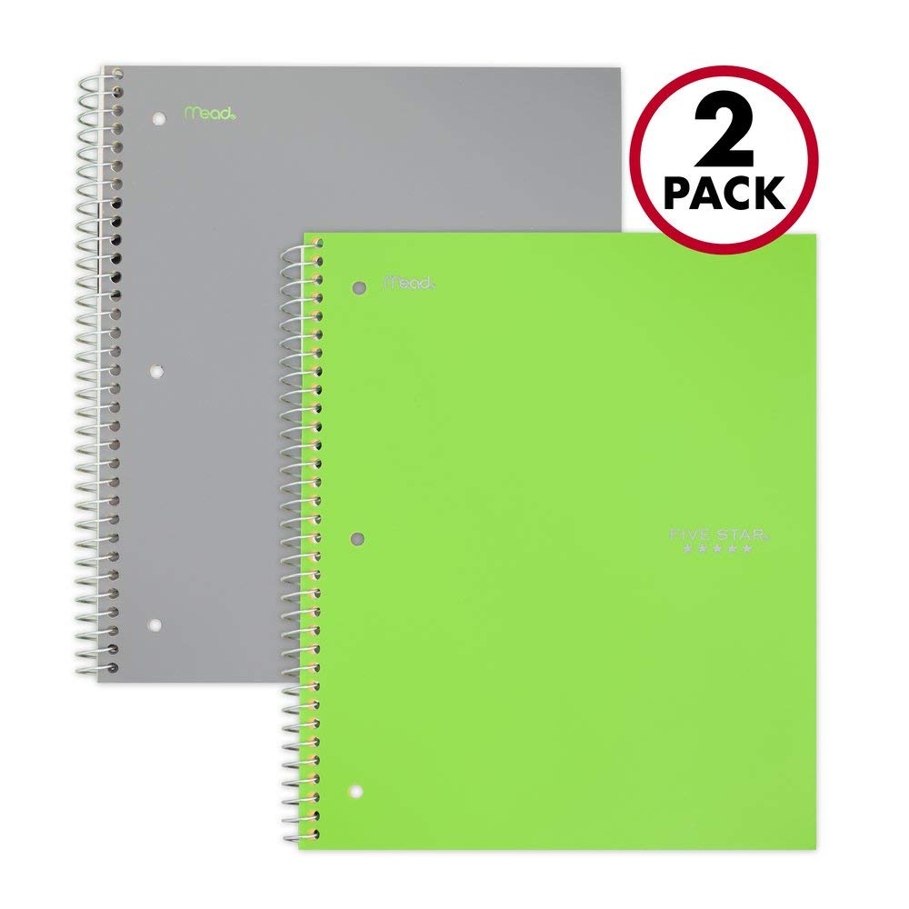 Five Star Spiral Notebooks, 3 Subject, College Ruled Paper, 150 Sheets, 11'' x 8-1/2'', Gray, Lime, 2 Pack (38819) by Five Star